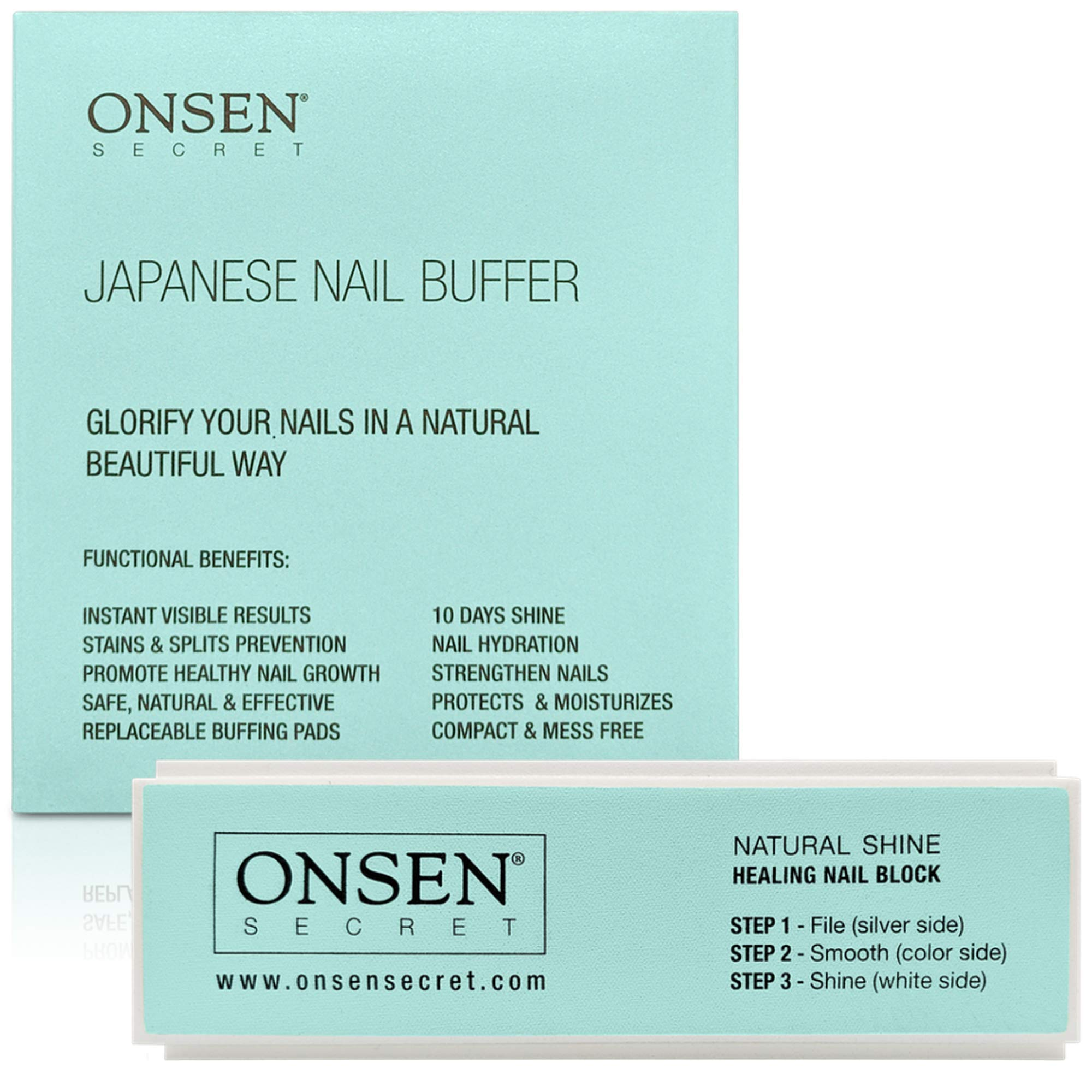 Onsen Secret Nail Buffer Block - Made Out Of Sacred Japanese Hot Spring Minerals - 3-Way Buffing Methods - File, Smooth, Shine - All Natural Nail Polisher For Professional Nail Care by Onsen
