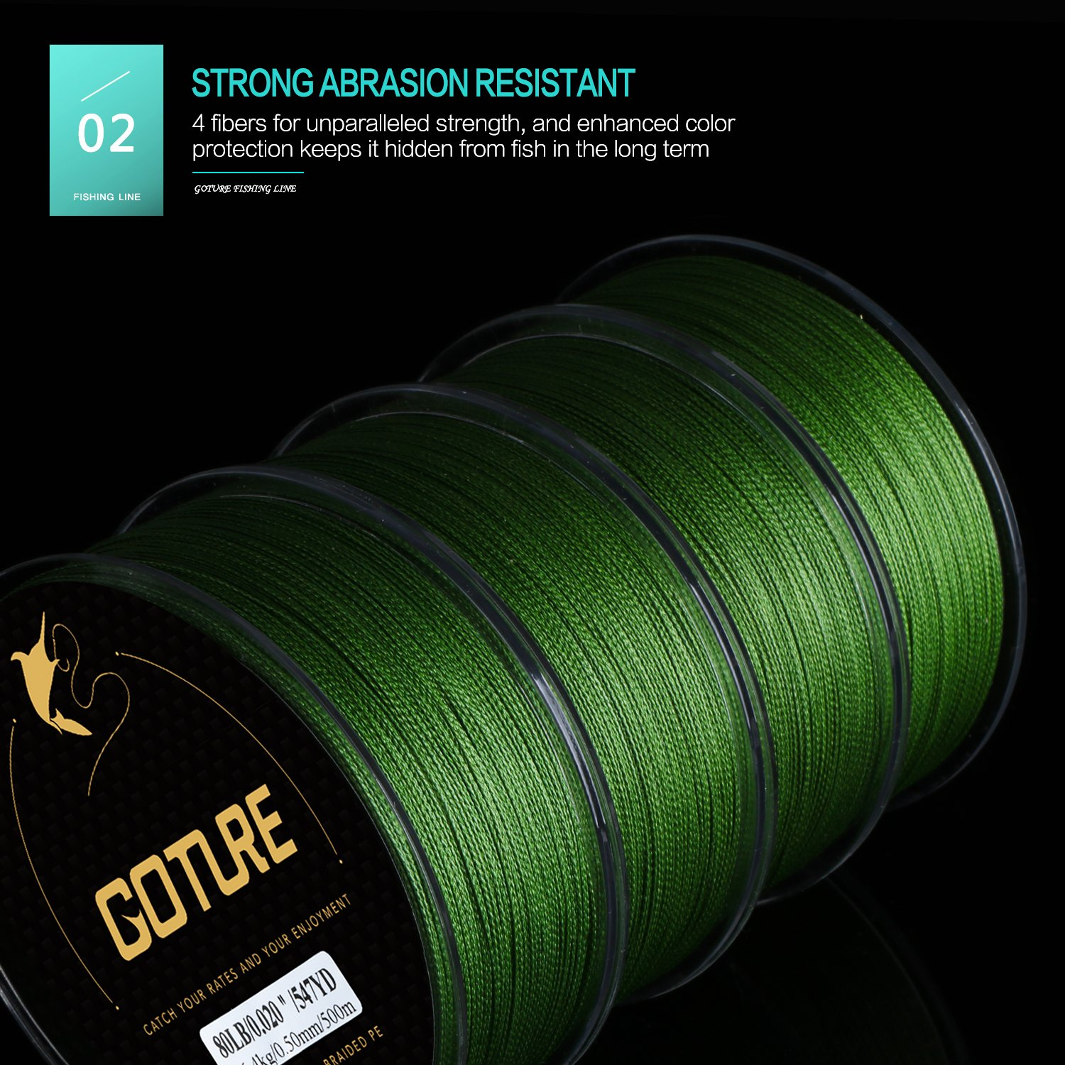 Goture 8-80LB Superpower Braided Fishing Line-Zero Stretch and High Tension Advanced Multifilamentline for Saltwater and Freshwater - Army Green, Blue, Blackish Green, Grey, Yellow- 2017 New by Goture (Image #3)