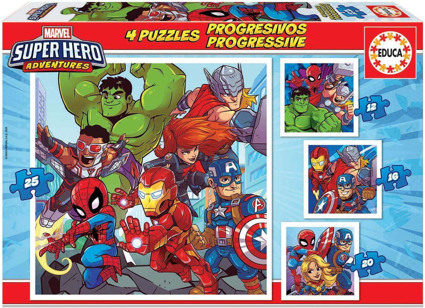 Educa Borrás Progresivos puzzle infantil de 12, 16, 20 y 25 piezas, Marvel Super Heroe Adventures, a partir de 36 meses (18647) , color/modelo surtido