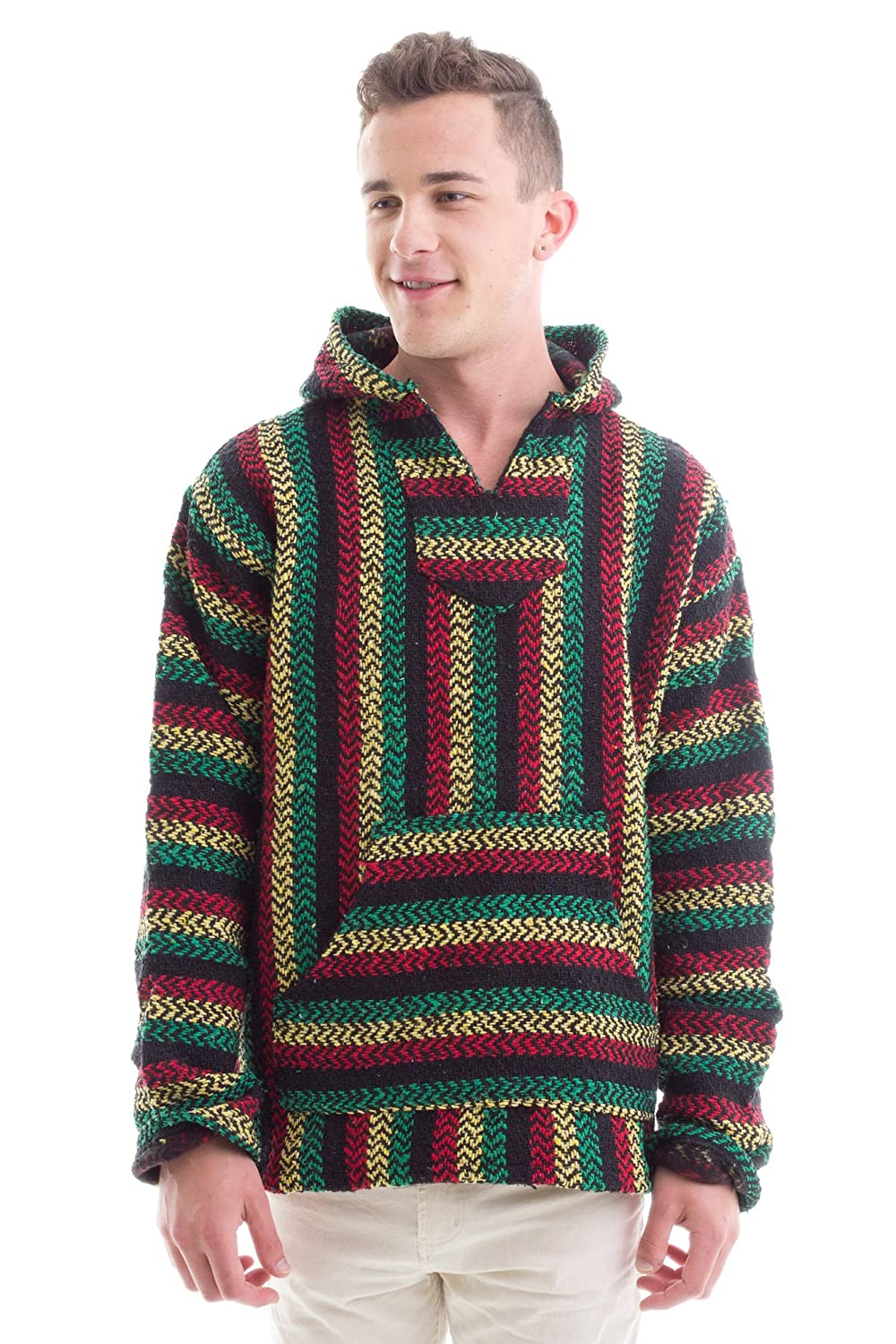 Earth Ragz Baja Joe - Premium Rasta Stripe Woven Baja Hoodie Sweatshirt Jerga Mens BS005-168347