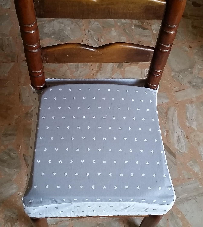 N.6 cuscini coprisedia quadrati universali sfoderabili con zip shabby chic cuoricini grigio