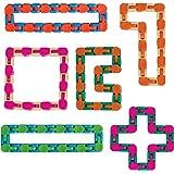 Wacky Tracks Sensory Fidget Toys Snap and Click Fidget Cube Puzzles Bulk Set of 6 by Neliblu- ADHD, Autism, Stress…