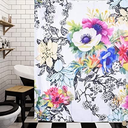 Arfbear Flower Shower Curtain Liner Colorful Flowers Blooming Bright And Inky Leaves Waterproof