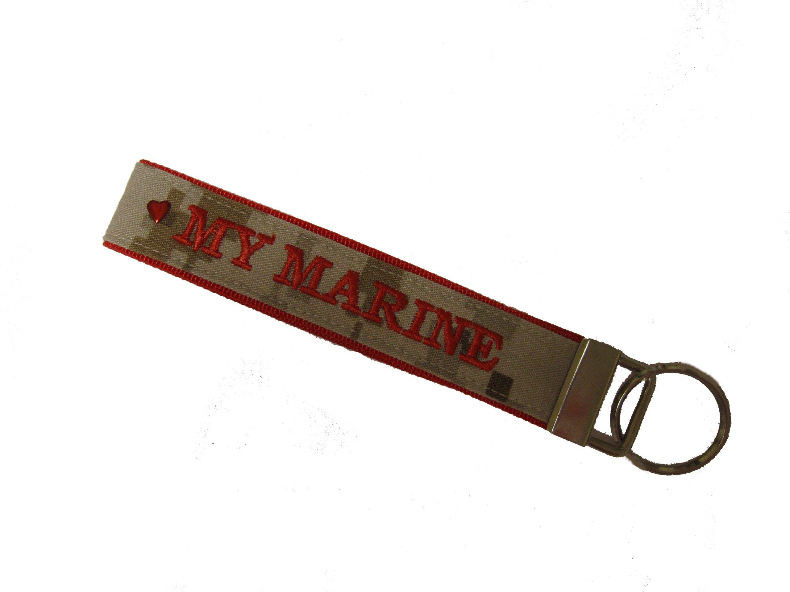 U.S. Marines Name Tape Key Chain, USMC Military Keychain, US Marine Corps Key Fob, Love my Marine Key Chain