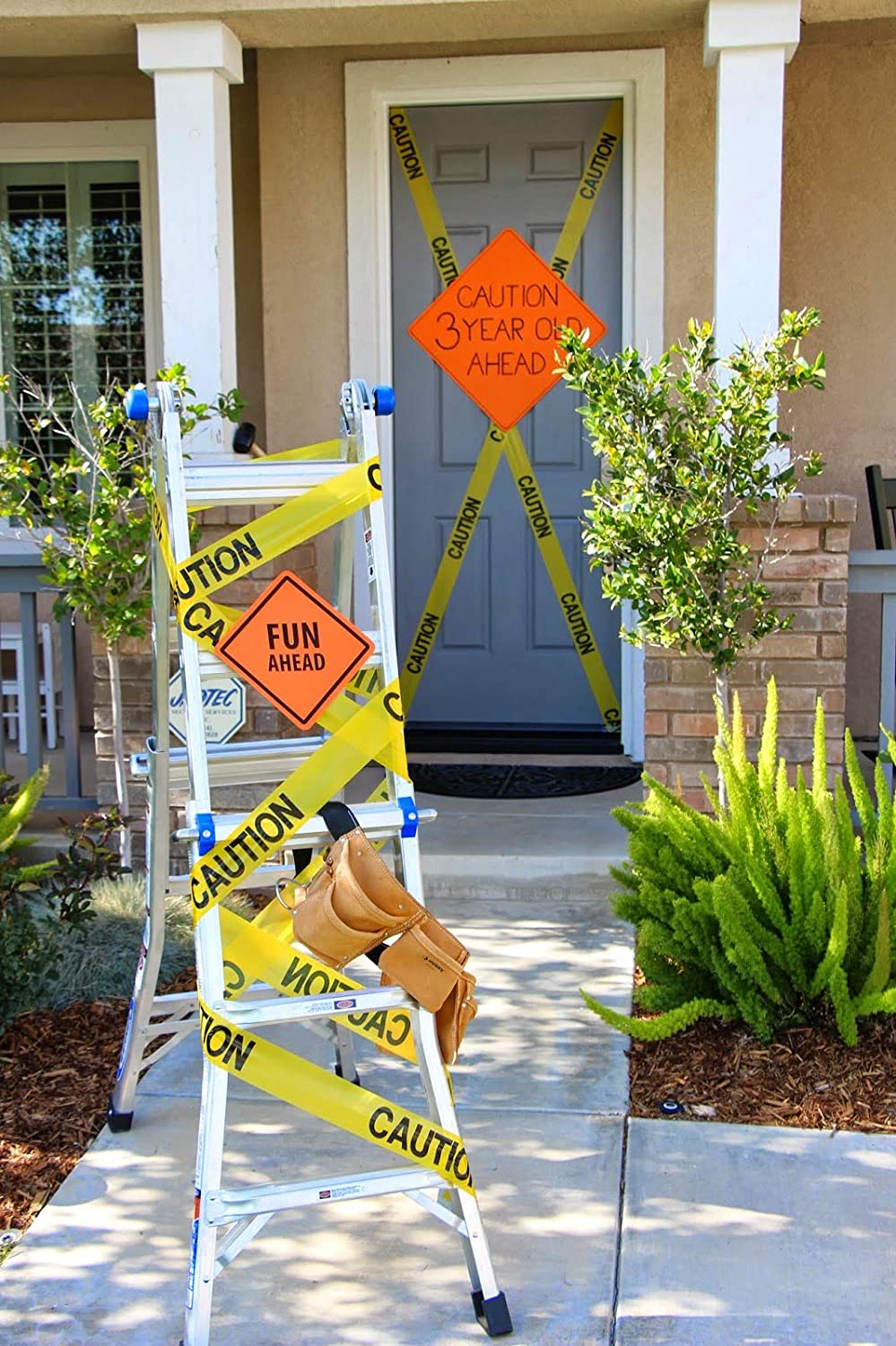 """Caution Tape and Danger Tape Bundle Decorations for Construction Birthday or Halloween Theme Party 3"""" x 1000 Yellow and Red Rolls"""