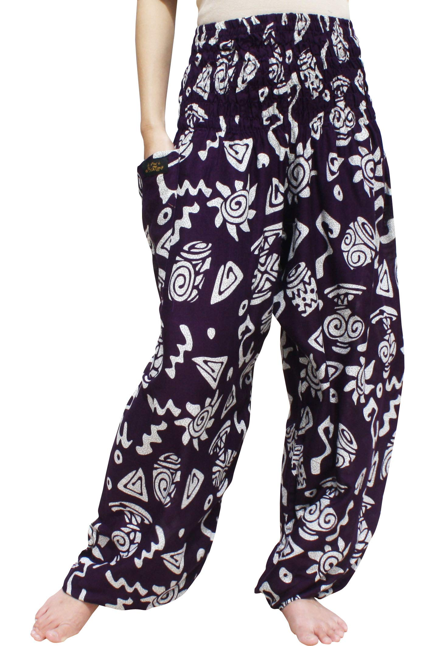 RaanPahMuang Brand Smock Waist Rayon Mixed Art Harem Baggy Aladdin Pants, Large, Geometric Art - Dark Purple by RaanPahMuang