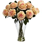 Nearly Natural 1328-PH Blooming Roses with Vase, Peach