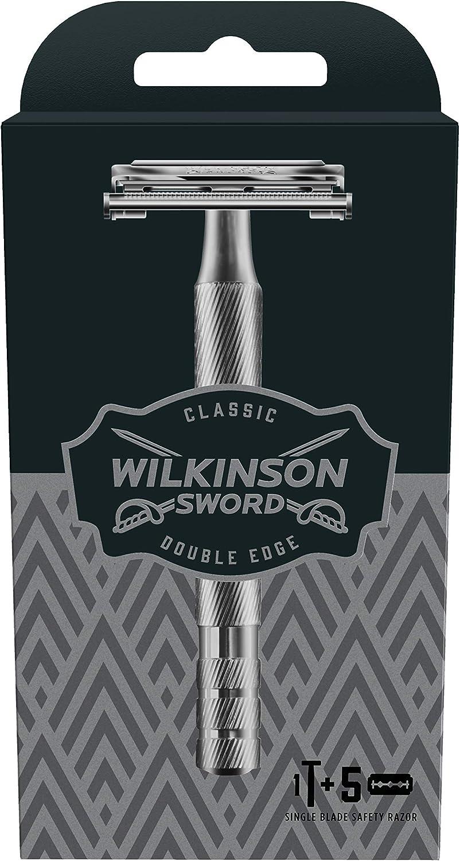 Wilkinson Sword Classic PREMIUM - Máquina de Afeitar Vintage de Acero Cromado para Hombre + 5 Hojas de Afeitar de Doble Filo, Afeitado Clásico Manual