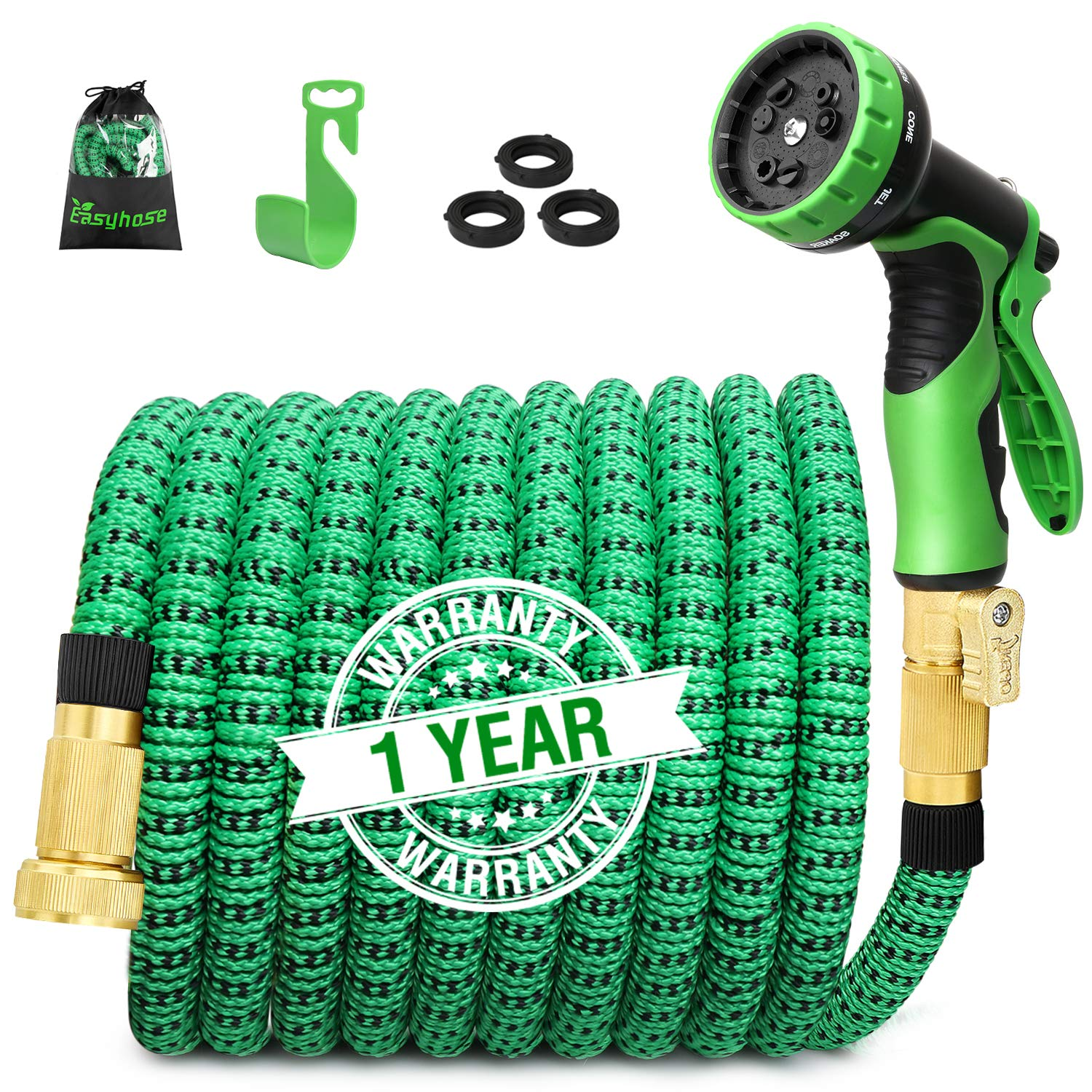 100ft Expandable Garden Hose, Expanding Water Hose with 3/4 inch Strong Solid Brass & 9 Function Nozzle , Expandable Hoses No-kink Leaking Flexible Lightweight Gardening Hose Outdoor Yard Hoses