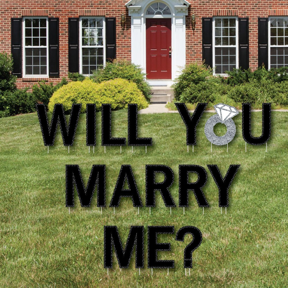 Big Dot of Happiness Will You Marry Me? - Yard Sign Outdoor Lawn Decorations - Marriage Proposal Yard Signs