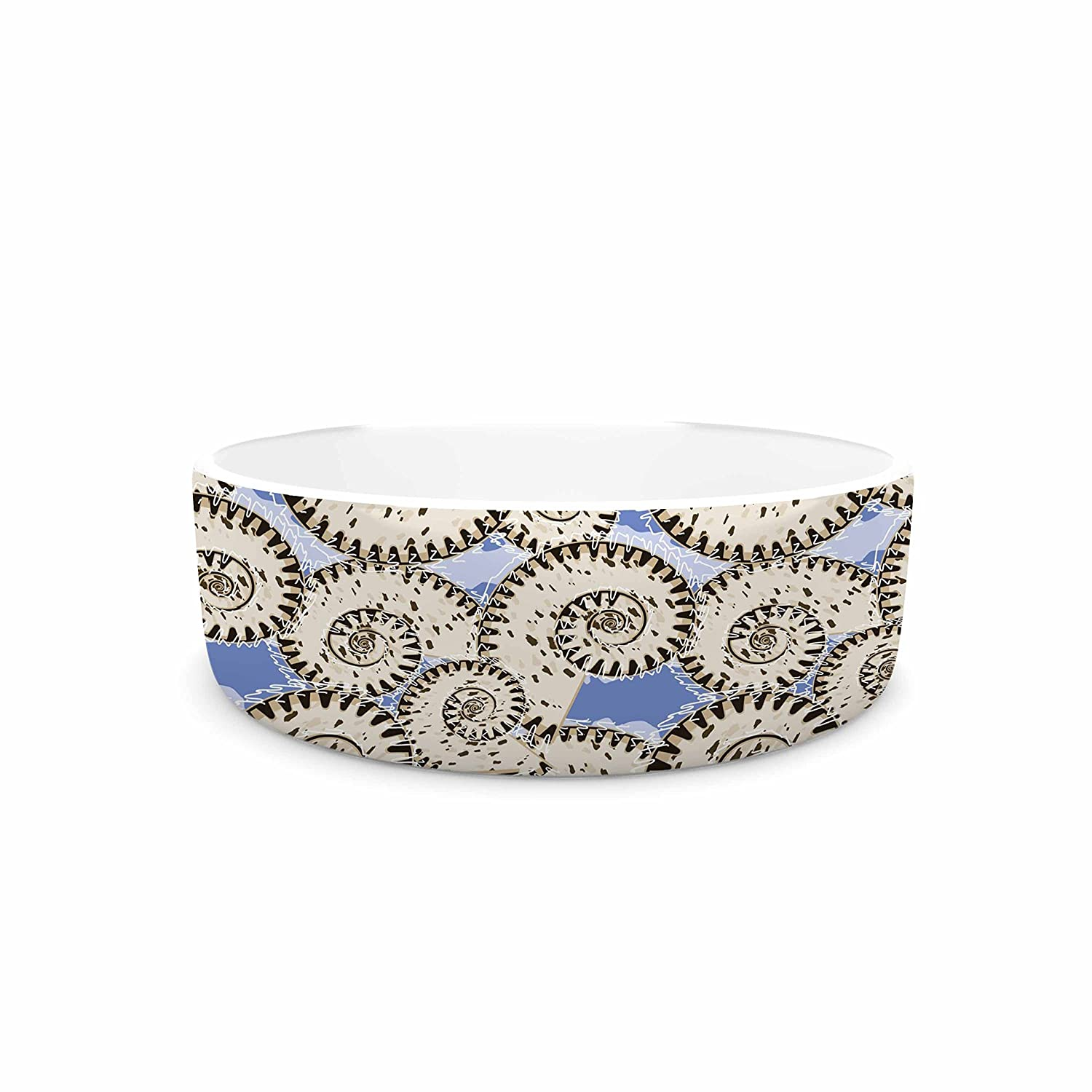 KESS InHouse Mydeas Nautical Breeze Spiral Seashells Beige bluee Vector Pet Bowl, 7  Diameter