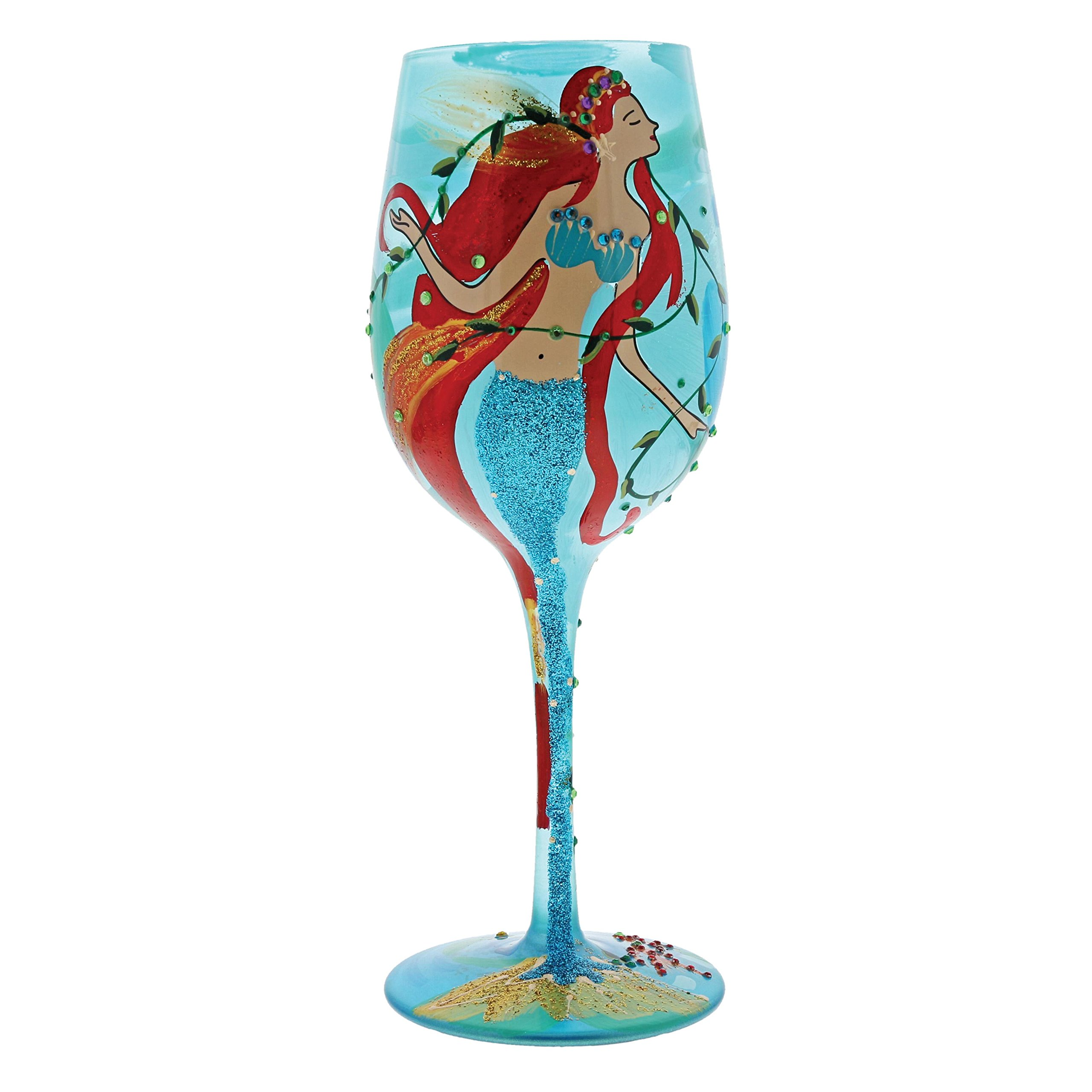 "Designs by Lolita ""Mermaid"" Hand-painted Artisan Wine Glass, 15 oz."