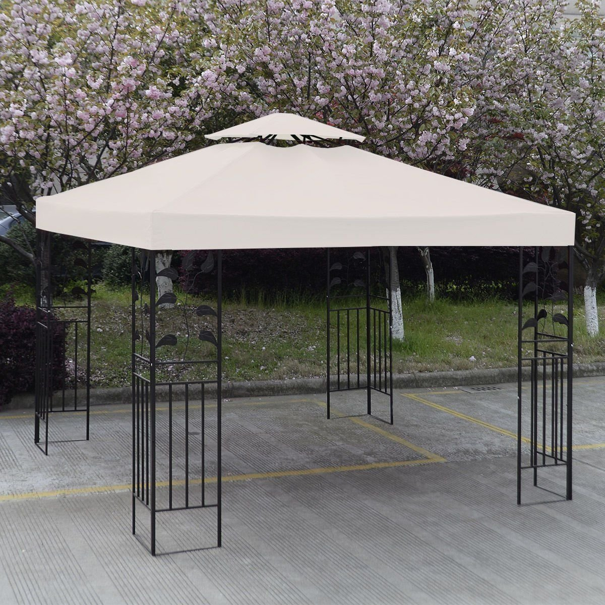 Good 10u0027 X 10u0027 Gazebo Replacement Canopy Top Cover   Beige, Double Teir