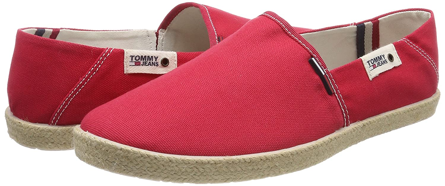 Hilfiger Slipper Denim Herren Tommy Jeans Summer Slip On Schuhe Slipper Hilfiger Rot (Tango ROT 611) 1228db