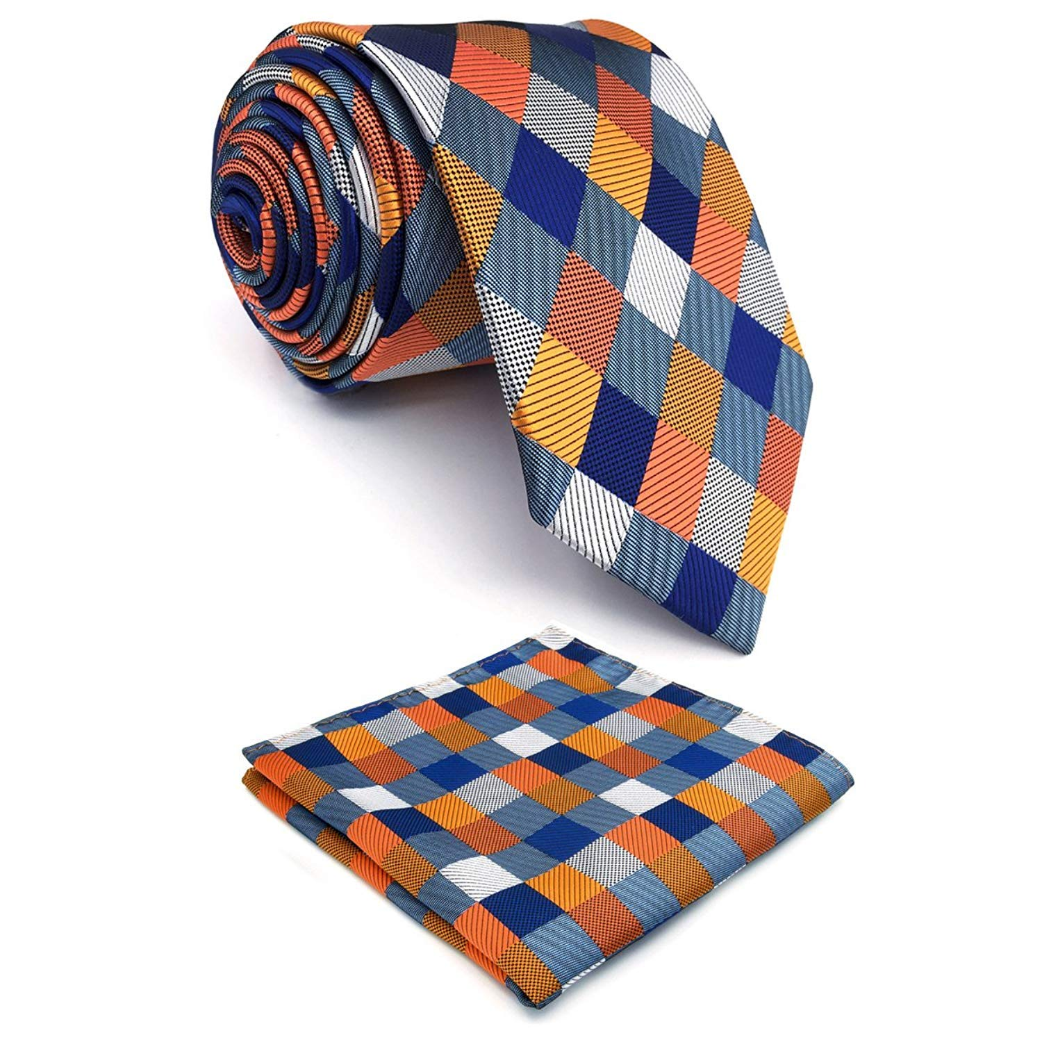 Shlax&Wing Mens Necktie Pocket Square Set 57.5 63 Extra Long Silk Tie Hanky NPSET2-CX20