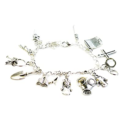 Pretty Little Liars Inspired Silver Tone Charm Bracelet with Laptop, Coat, Cross, Book, Shovel and More