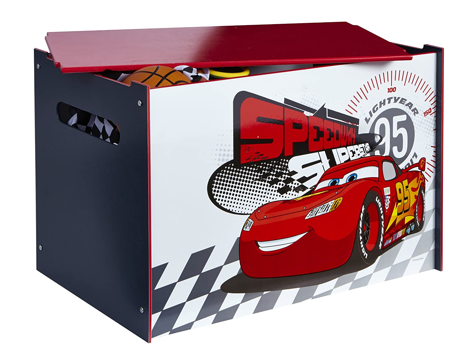 Disney Cars Kids Toy Box - Childrens Bedroom Storage Chest with Bench Lid by HelloHome Worlds Apart 474CAP