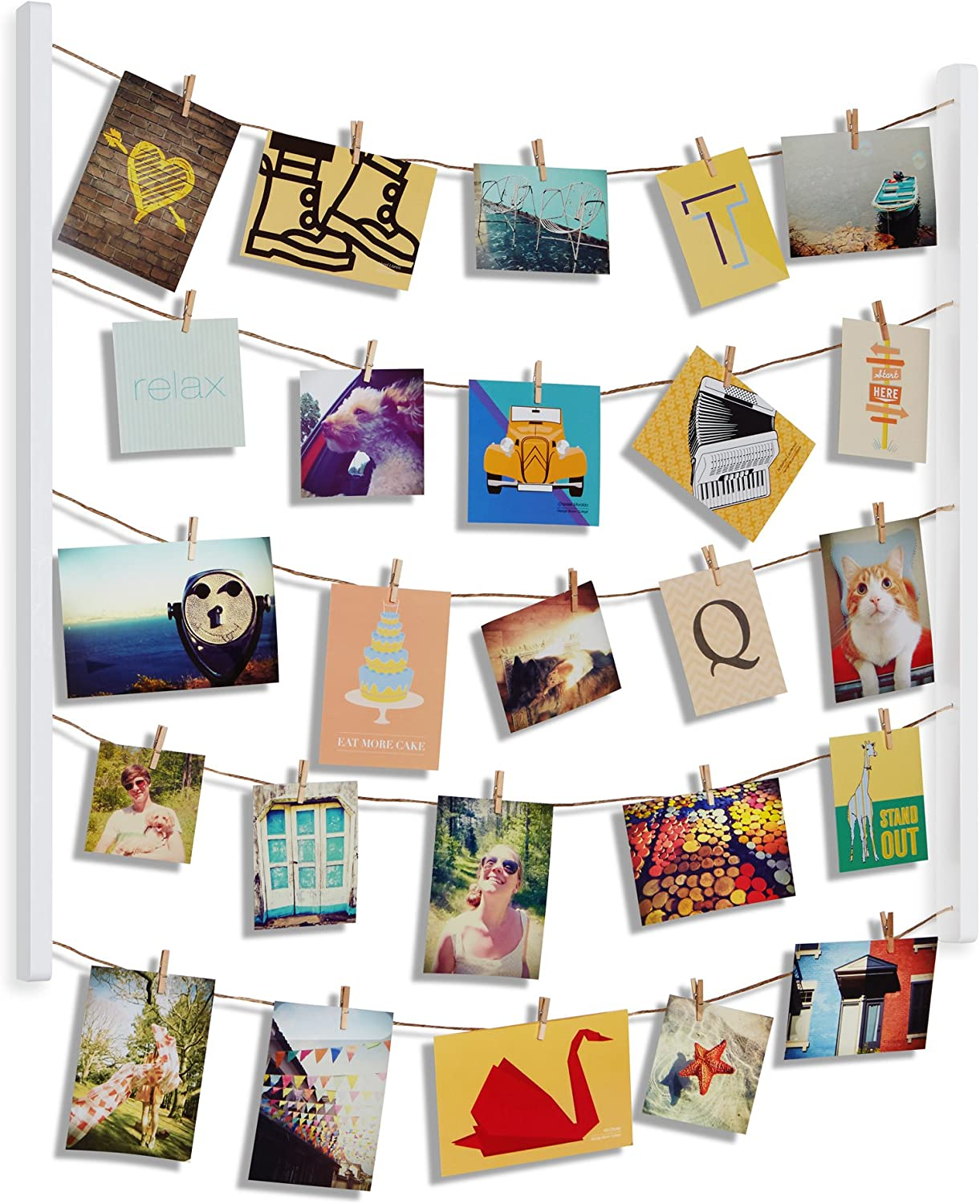 Amazon Com Umbra Hangit Photo Display Diy Picture Frames Collage Set Includes Picture Hanging Wire Twine Cords Natural Wood Wall Mounts And Clothespin Clips For Hanging Photos Prints And Artwork White Home