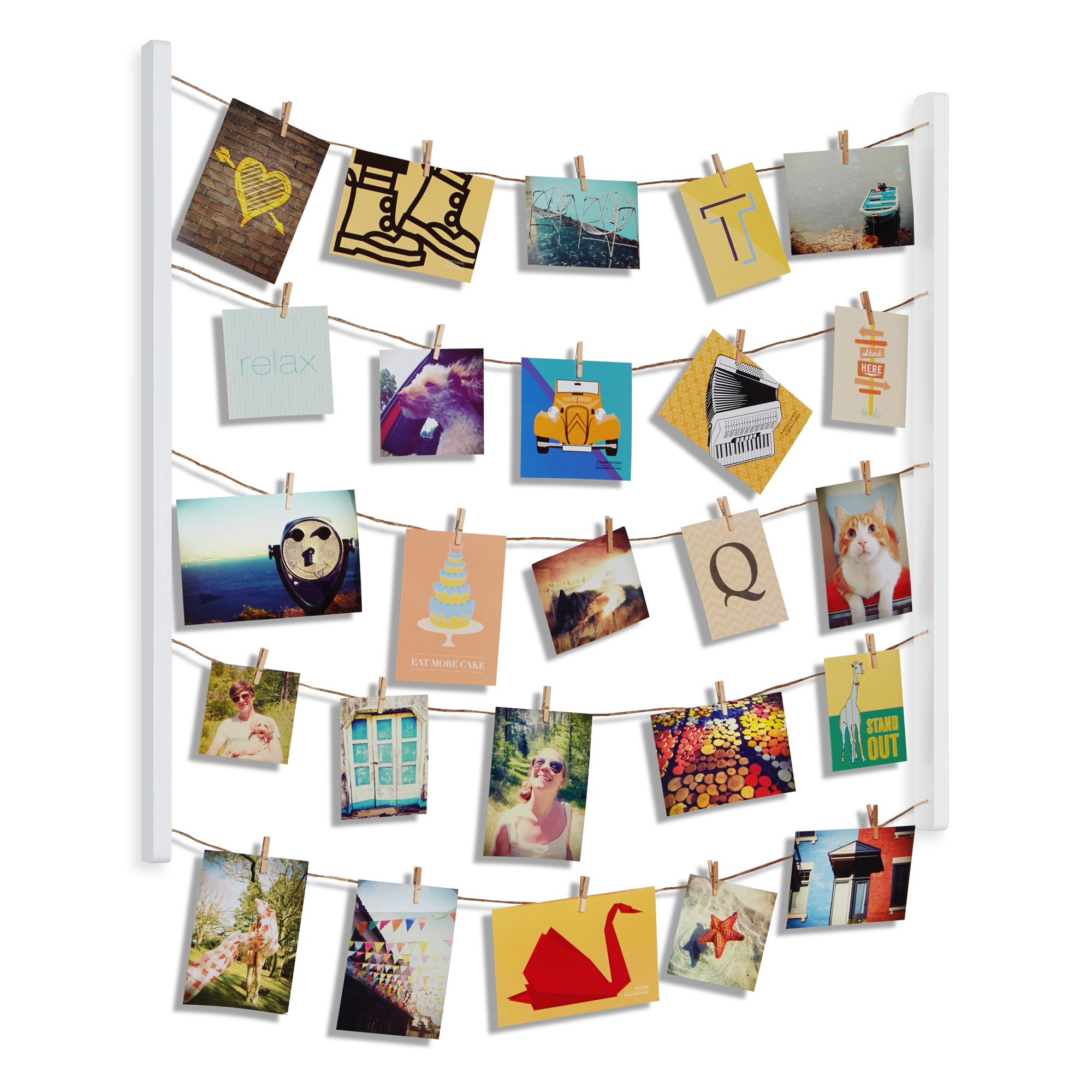 Umbra Hangit Photo Display - DIY Picture Frames Collage Set Includes Picture Hanging Wire Twine Cords, Natural Wood Wall Mounts and Clothespin Clips for Hanging Photos, Prints and Artwork (White) by Umbra