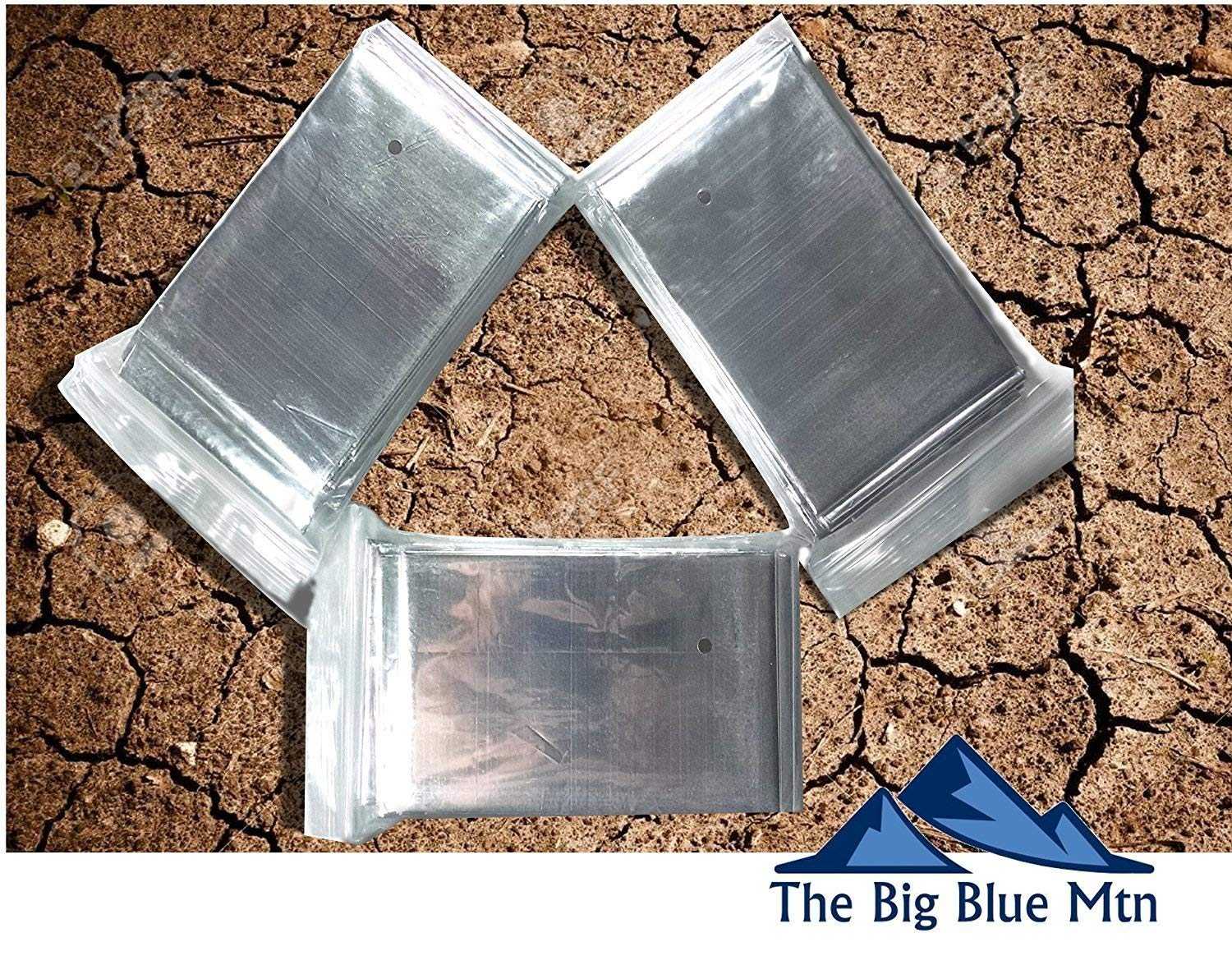 The Big Blue Mtn Emergency Blanket 4 Pack (Silver) + Paracord Survival Bracelet (Navy) Mylar Thermal Foil Space Blankets for Outdoor Camping Hiking Gear by The Big Blue Mtn (Image #3)