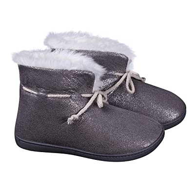 ofoot Women's Winter Slippers/Shoes Super Warm Faux Fur Lining Comfy Thickly Padded Memory Foam Anti-Slip TPR Soles | Slippers