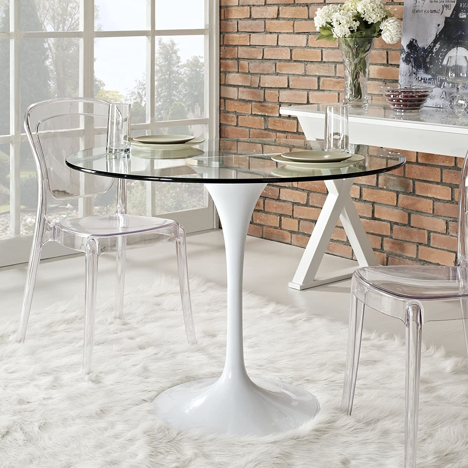 table stainless metal glass top with dining decor steel base home