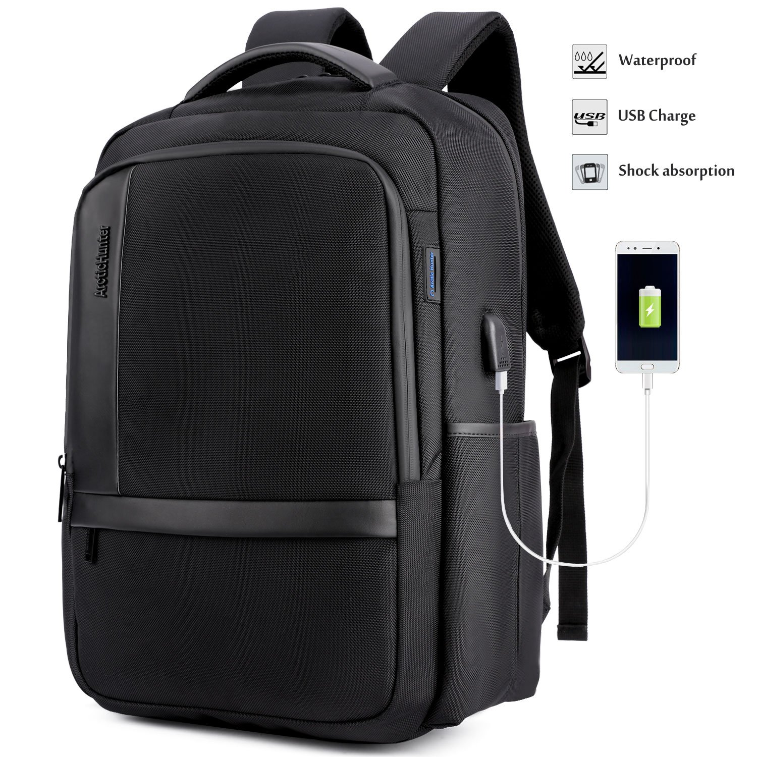 Laptop Backpack High School BookBag for Teen Boys Girls with USB Charging Port Business Travel Rucksack Middle College Student Daypack Computer Bag Fit 15.6''Tablet PC Waterproof(Black)