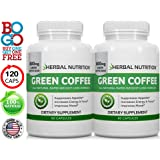 #1 Rated Pure Green Coffee Extract | Two Bottle Pack |120 Capsules A Two Month Supply | 800mg & 50% CGA | Lose Weight, Burn Fat - Natural Appetite Suppressant | Free Shipping|100% Gty!