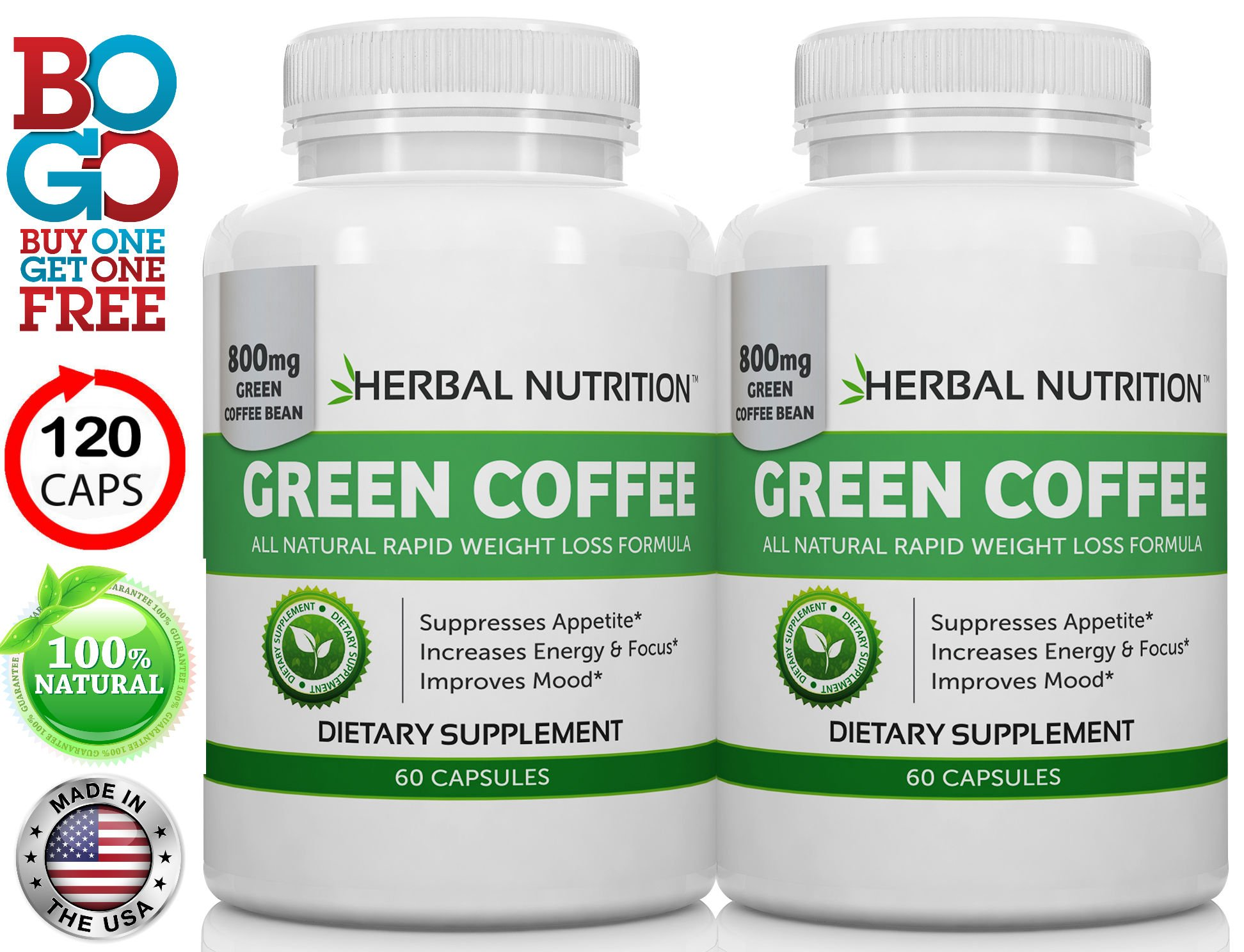 #1 Rated Green Coffee Bean Extract for Weight Loss, BOGO 120 Capsules, 2 Month Supply, 800mg at 50% Chlorogenic Acid, All Natural Weight Loss Supplement, Free Shipping