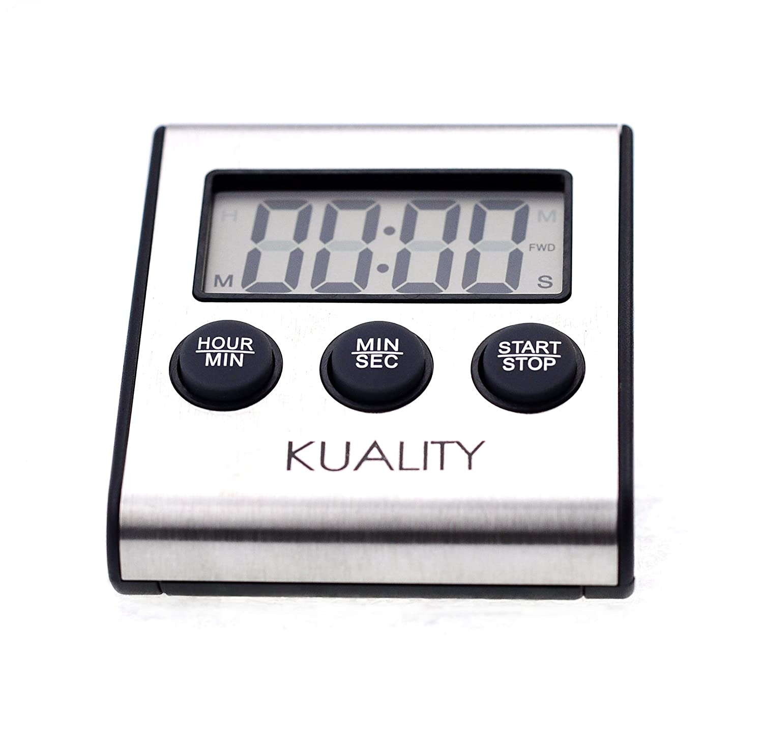 Kuality Precision Digital Cooking/Roasting Timer with Stainless Steel Panel, 1 Second to 100 Hours Easy Setup, Magnetic Back & Kickstand