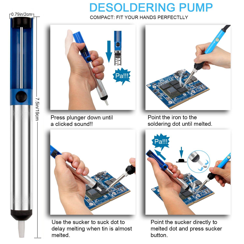 ANBES Soldering Iron Kit Electronics, 60W Adjustable Temperature Welding Tool, 5pcs Soldering Tips, Desoldering Pump, Soldering Iron Stand, Tweezers by ANBES (Image #4)