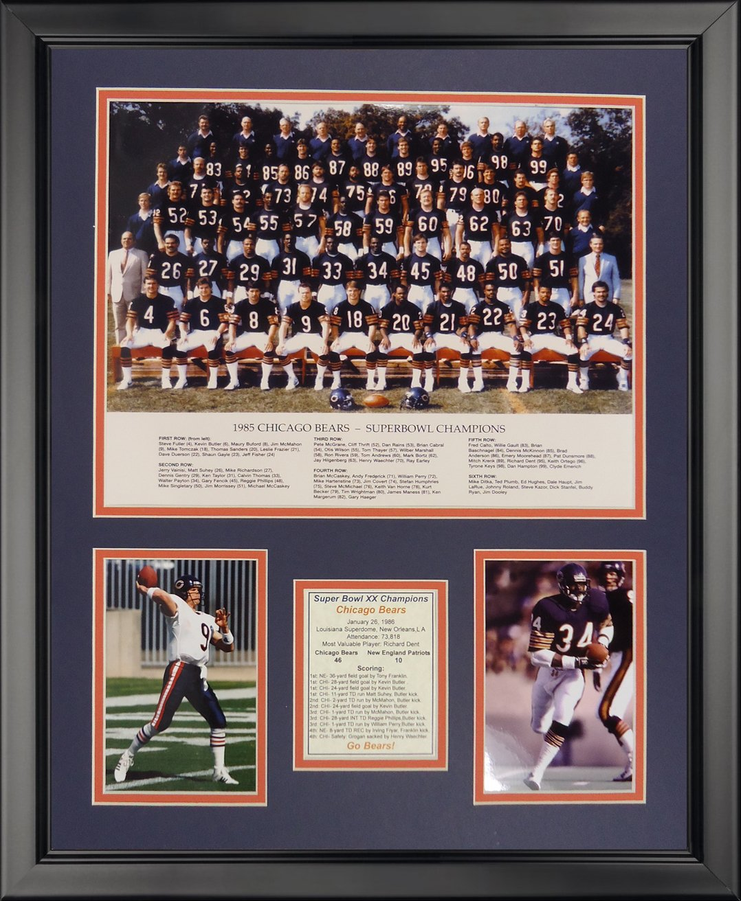 Legends Never Die Chicago Bears - 1985 Bears Framed Photo Collage, 16'' x 20''