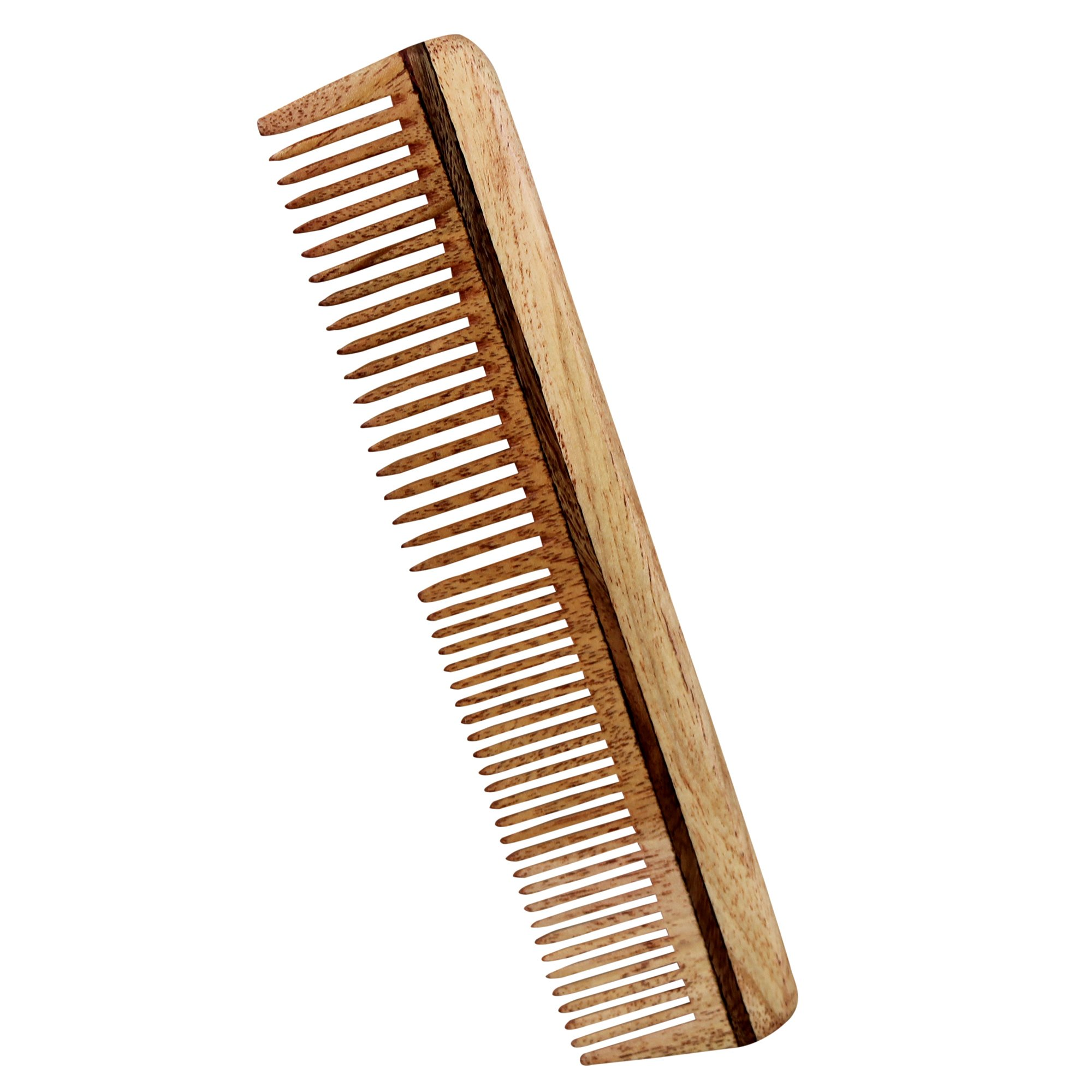 Wooden Hair Comb Neem Wide Tooth with Handle - Anti Dandruff, Non-Static