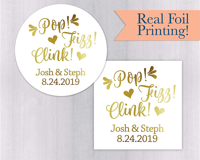 Custom Rose Gold Foil Wedding Favor Tags FS-019-F Pop Clink Fizz Wedding Toast Gold Foiled Wedding Tags
