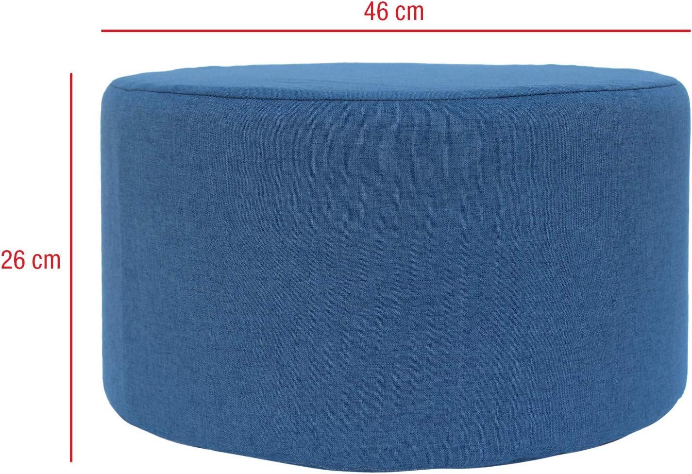 Misure 25 x 45 x 45 cm - Art Rebecca Mobili Puff poggiapiedi Piatto Tessuto Grigio RE4543 Soggiorno complementi darredo HxLxP