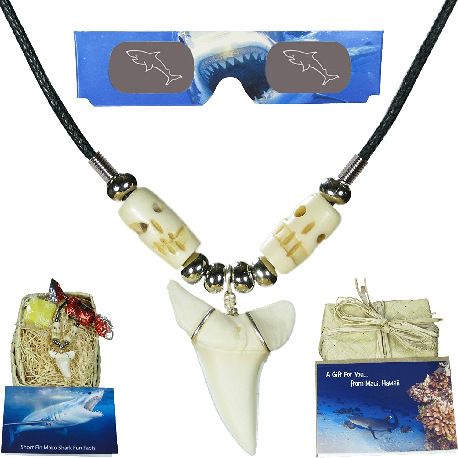 Real Hawaiian Shark Tooth Necklace - Gift Set for Kids, Boys, Girls, Men, Women and Surfers - Bundle Features Hawaiian Gift Box, 3D Shark Glasses, Gift Card, Fun Facts Card and Hawaiian Candy