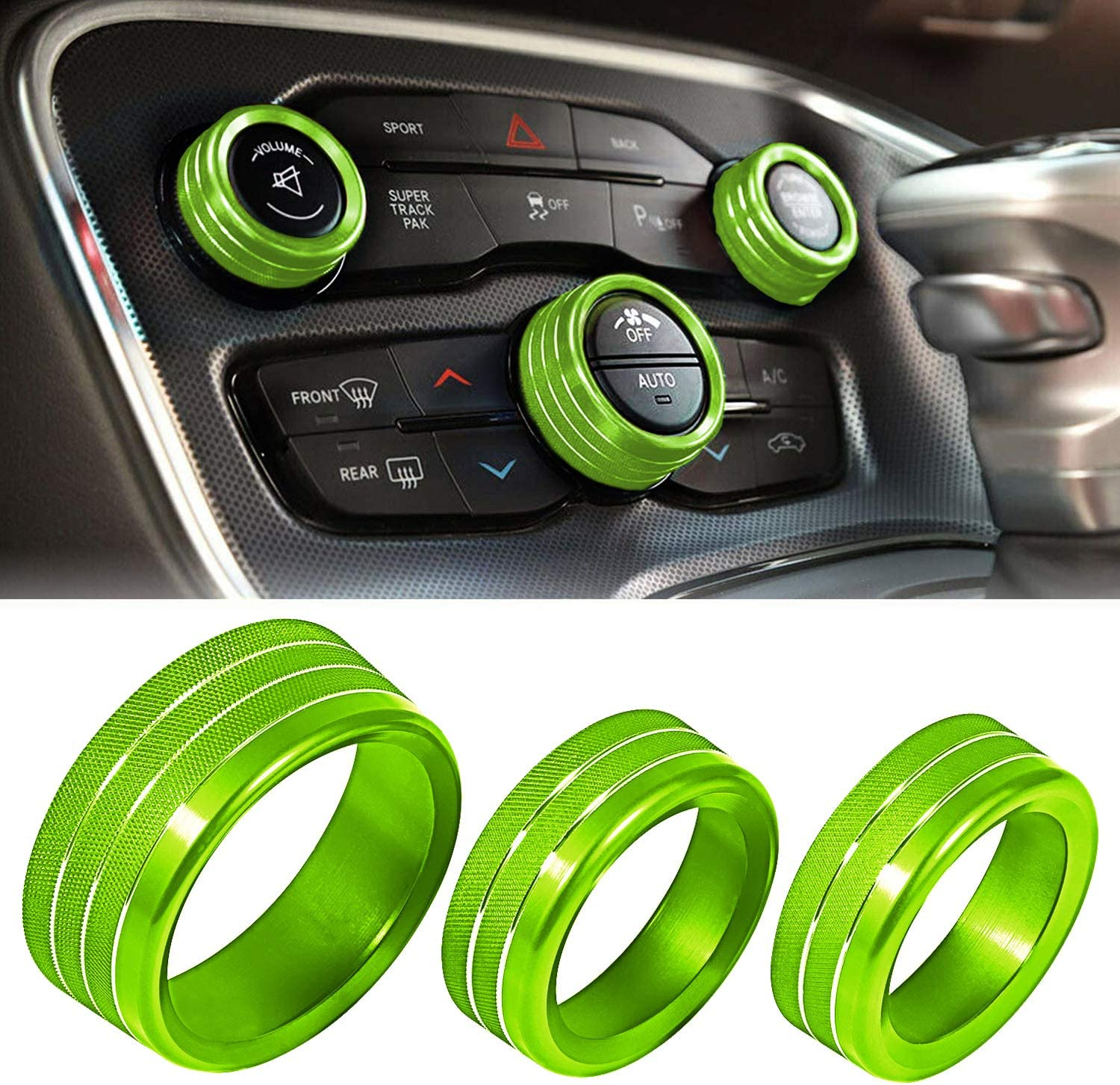 ToolEpic for Dodge Challenger Charger Accessories 2015-2020 - Decal Trim Rings Set of 3 - Aluminum Alloy Mint Green - Air Conditioning Radio Volume Button Knob Covers, Perfect for Upgrades