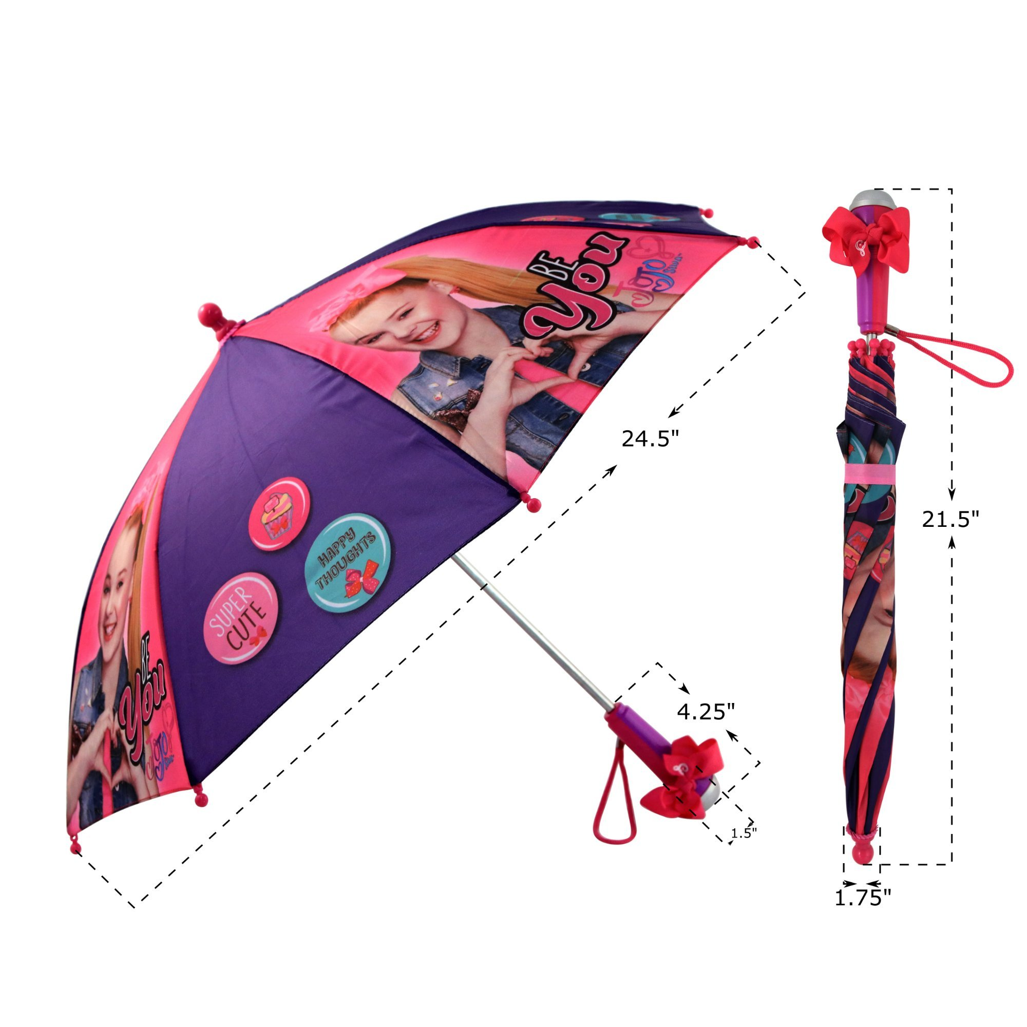 Nickelodeon Little Girls' Jojo Siwa Rainwear Character Umbrella, Purple/Pink, Age 3-7 by Nickelodeon (Image #7)