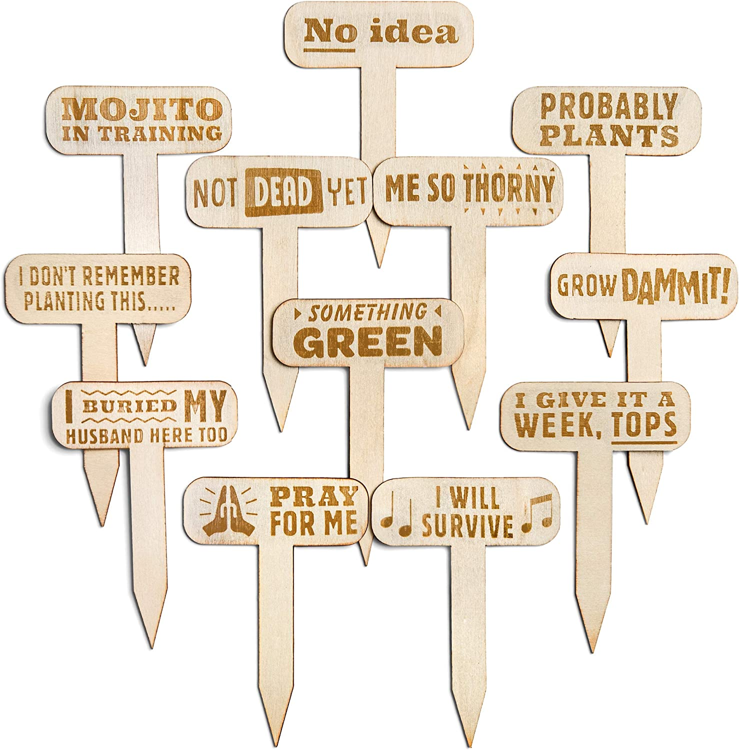 Funny Plant Markers - Garden Labels - Plant Markers for Gardener