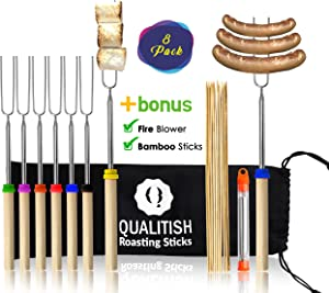 Qualitish Marshmallow Roasting Sticks Extendable 8Pcs Smores Skewers for Fire Pit Kit Hot Dog Telescoping 32inch Long Kids Friendly Camping Forks Stainless Steel Campfire/Fire Pit Accessories & blower
