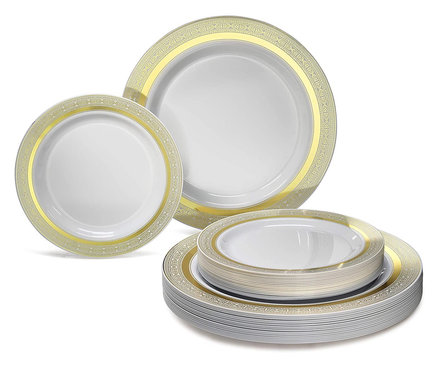 Blossom Ivory//Gold OCCASIONS 120 Pack Heavyweight Wedding Party Disposable Plastic Plates Set 60 x 10.25 Dinner 60 x 7.5 Salad//dessert