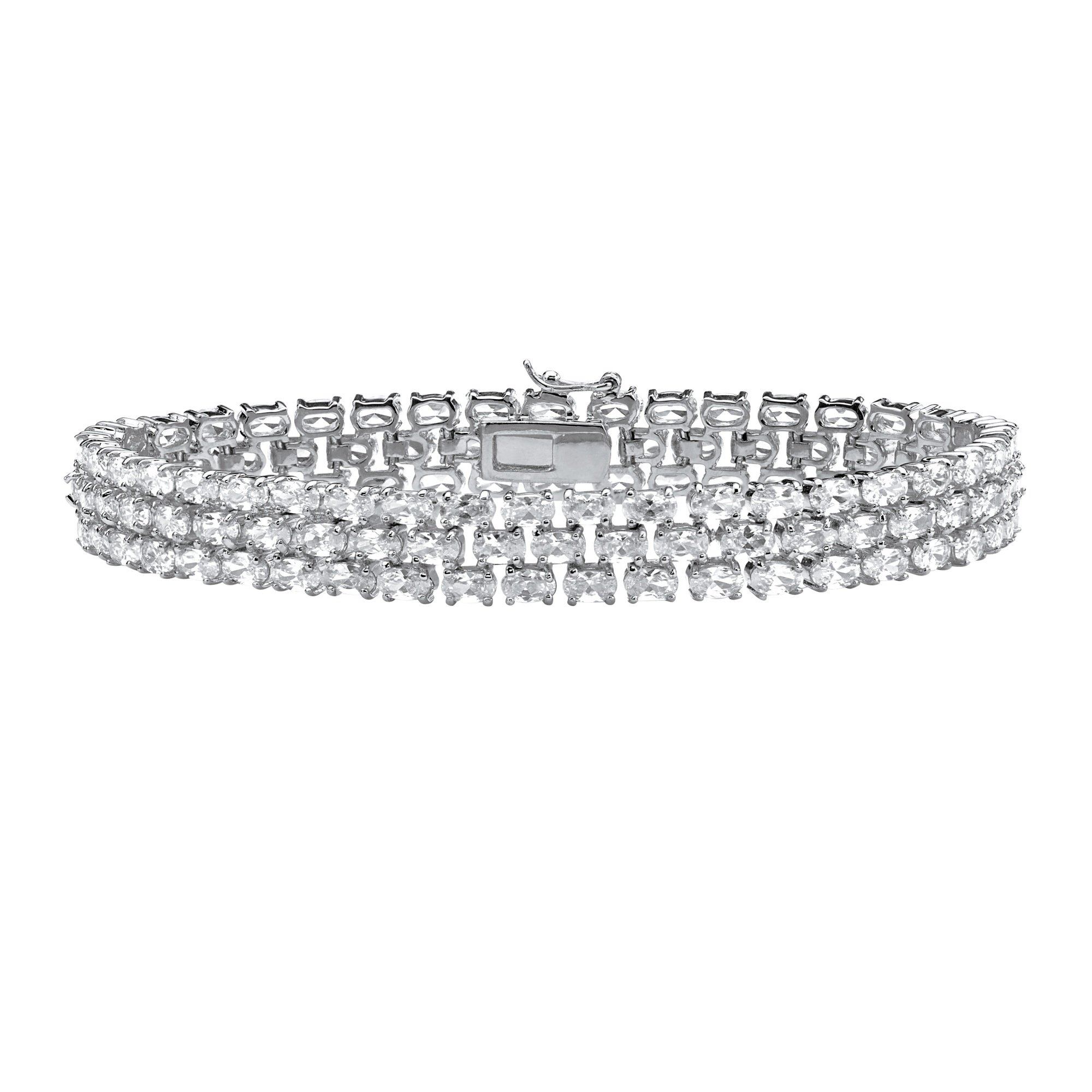 Oval White Cubic Zirconia Rhodium-Plated .925 Sterling Silver Tennis Bracelet 8.5''