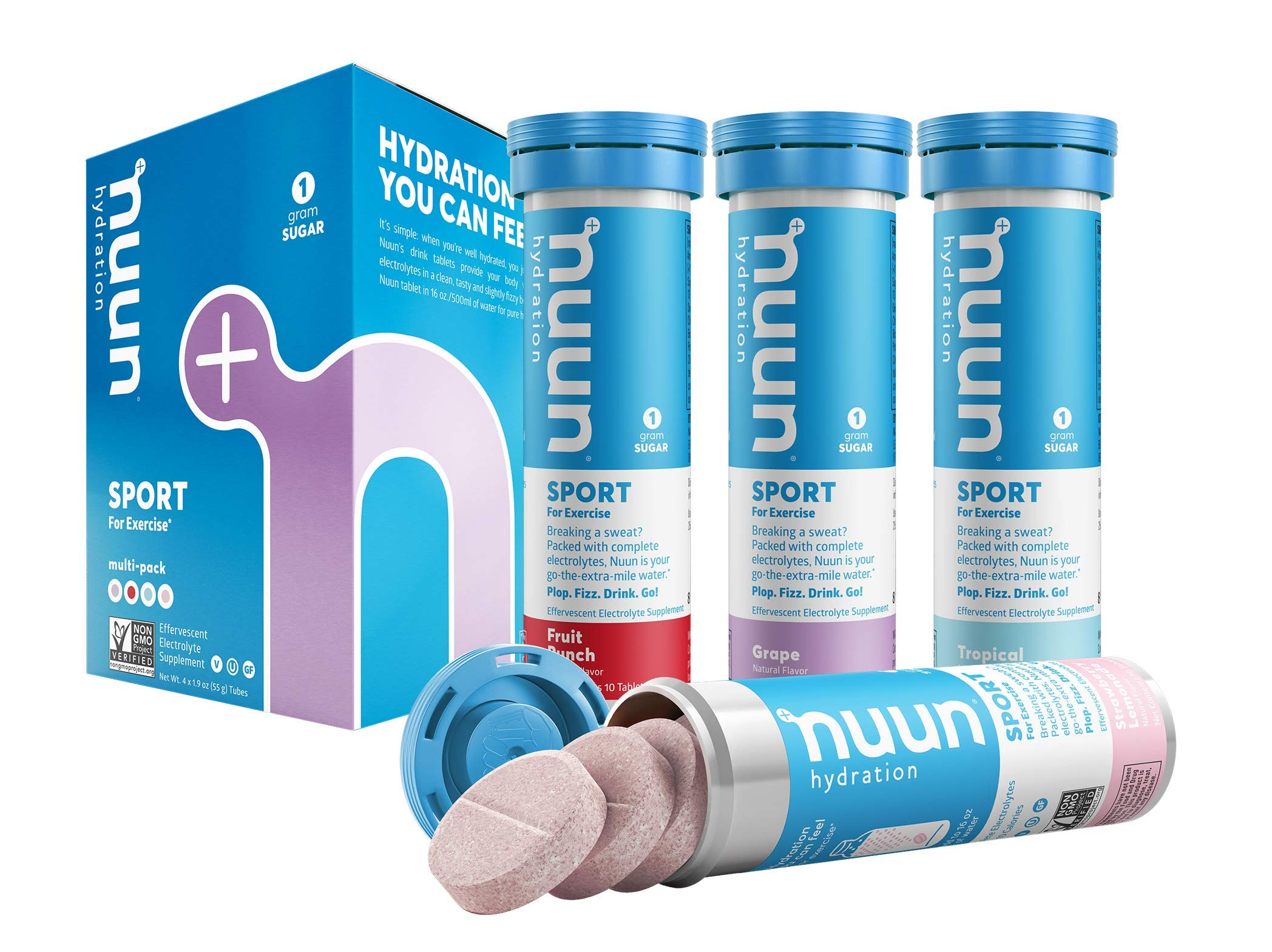 Nuun Sport: Electrolyte-Rich Sports Drink Tablets, Juice Box Mixed Flavor Pack, Box of 4 Tubes (40 servings), Sports Drink for Replenishment of Essential Electrolytes Lost Through Sweat
