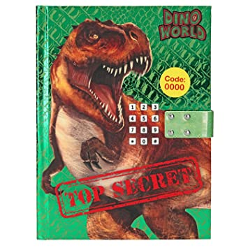 TOP MODEL- Diario con código Secreto, Dino World Cuadernos Papelería, Color carbón, Talla única (DEPESCHE 10557)