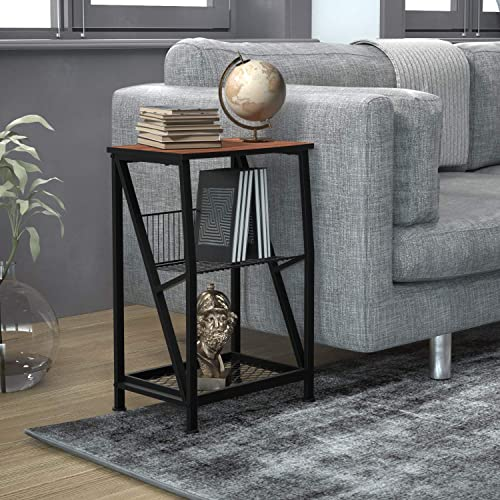 Nightstand 3-Tier X-Design End Table Display Shelves Accent Sofa Side Table Night Stand