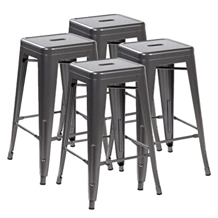 Ayvek Chairs Metal High ProStackable Indoor And Outdoor Backless Barstool  (Set Of 4),