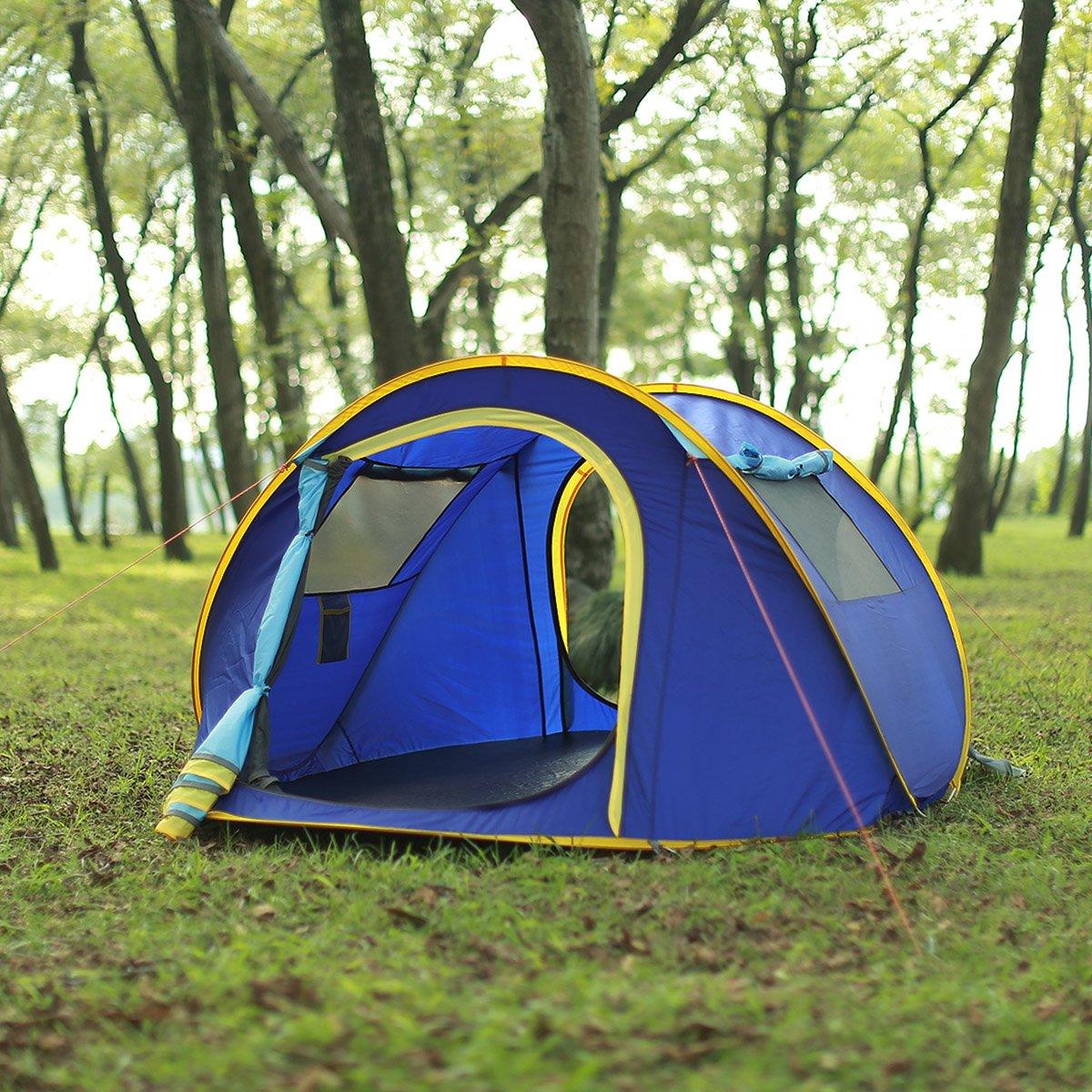 Huilingyang La tienda de campaña portátil y establecer automáticamente 3-4 personas Campamento para Viaje Campaña carpa para senderismo actividades al aire libre