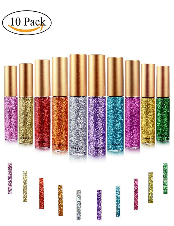 Eyeliner Glitter ,Ropalia 10 Pcs Shimmer Liners Waterproof Natural Eyes Makeup (10 Pcs) by Ropalia