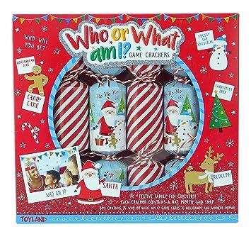 Spiele Weihnachtsfeier.Toyland Pack Of 6 Wer Oder Was Bin Ich Christmas Crackers