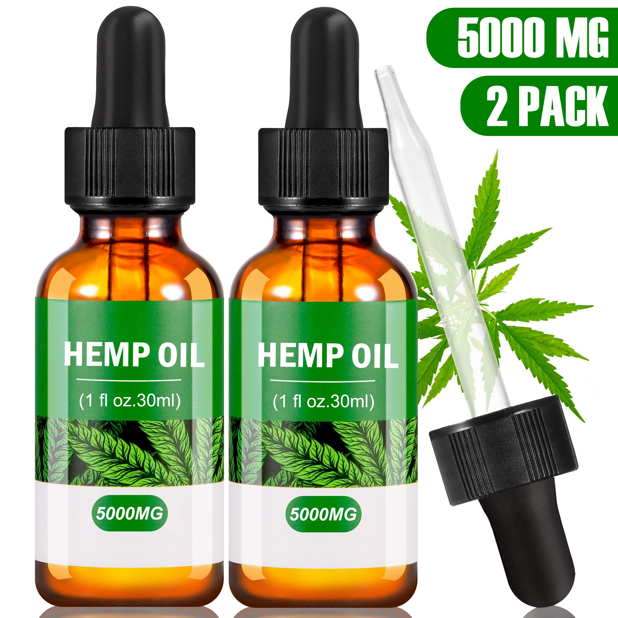 (2-Pack) Hemp 5000 MG Extract for Pain, Anxiety & Stress Relief- Helps with Sleep, Skin & Hair
